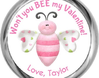 Kid's Valentine's Day Stickers • Bee My Valentine Stickers