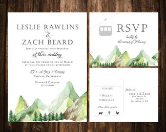 Watercolor Mountain Wedding Invitations; Printable OR set of 25
