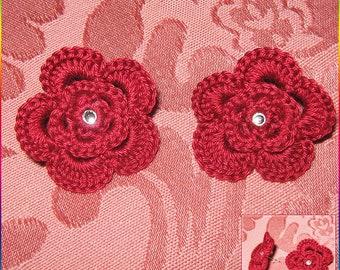 Red rose crochet earrings with rhinestones