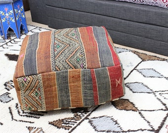 MOROCCAN KILIM POUF Pouffe Extra Large Floor Cushion Pillow Cover Handmade Handwoven 60 cm x 60 cm x 25 cm  / 25.6''x 25.6''x 10'' (KP5)