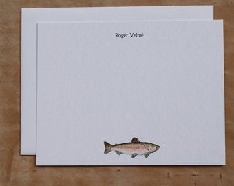 Trout Salmon Fish Masculine Custom Notecard Stationery. Thank You, Any Occasion, Personalize Watercolor Print, Set of 10.
