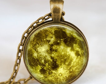 Green moon necklace, full moon necklace, moon pendant, lunar pendant, moon jewelry , space pendant