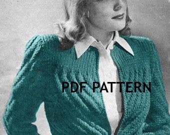 Vintage Knit Diagonal Ribbed Belted Sweater Jacket Pattern Digital Download