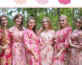 Blush, Rosegold and Marsala Wedding Color Bridesmaids Robes