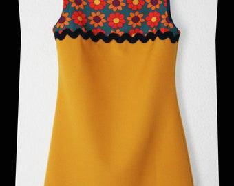 Retro dress 60s Mustard 36 8 NO Vintage Sixties