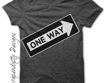 Iron on One Way Shirt PDF - Construction Iron on Transfer / Boys Transportation Shirt / Toddler One Way Sign / Construction Birthday IT49