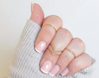 14k Gold Midi ring set Sterling Silver Chevron 4 ring knuckle set .925 adjustable stacking rings Gift for her sister daughter girlfriend
