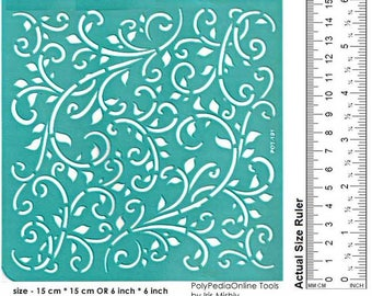 Stencil Stencils Pattern Template, Reusable, Adhesive, Flexible stencil, Wall stencil, Craft stencil, Background | LEAVES LEAF 6 inch/15 cm