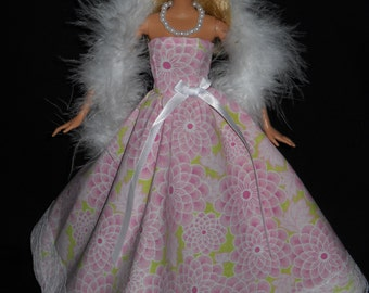 3 Piece Outfit  Pink Floral with Lace Gown Barbie Doll Dress Handmade Boa and Necklace