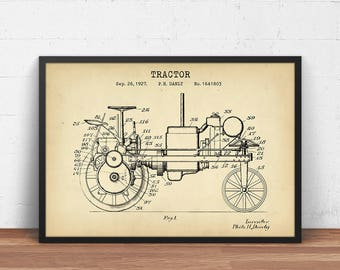 Tractor 1927 Patent Print, Digital Download, Tractor Design Blueprint, Farming Poster, Ranch Decor, Harvester Tractor, Agriculture Wall Art