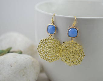 Light Blue Gold Earrings, Blue Glass Earrings, Bridesmaids Earrings, Gold Filigree Earrings, Long Dangle Chandelier Earrings, Gold Jewellery