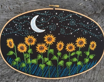 "Sunflower Field at Night, hand embroidered 8"" x 12"" hoop - crescent moon, starry night sky, folk art"