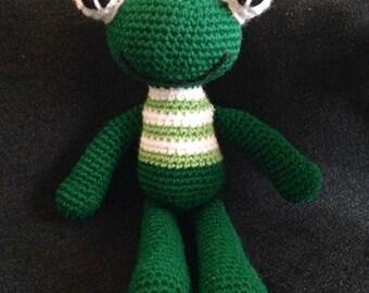 Froggie stuffed animal, crocheted frog amigurumi, stuffed frog