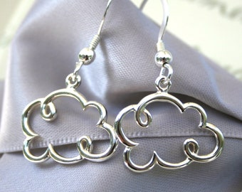 Silver Lined Cloud earrings Tiny size All Sterling Silver