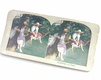 Antique Color Stereoview Card Fishing Picture Unconditional but Happy Ladies FISHING Victorian Girls Climb Tree Limb Tomboy Angler GIFT