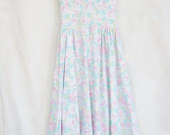 Vintage 80s-90s Floral Rose Print Maxi Dress/Shabby chic/Victorian/Romantic/Mori Girl/Tea Dress