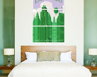 Emerald City Wizard of Oz Triptych Metal Wall Art