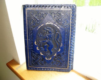 Exquisite Vintage Made in Italy Tooled Leather Book Cover, Bible Book Cover, Bright Blue With Royal Lion Emblem Heraldic Emblem