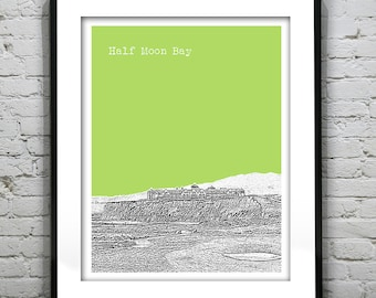 Half Moon Bay Skyline Poster Print Art California CA Version 2