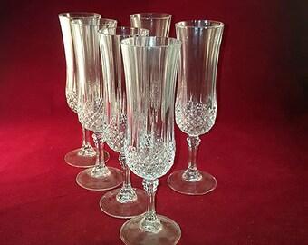 Set of 6 Cristal d' Arques Longchamp Champagne Flutes