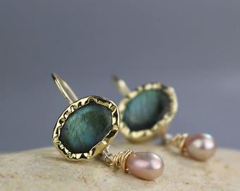 Solid Gold Earrings, Labradorite Earrings, Pearl Drop Earrings, Gemstone Jewelry