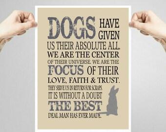 Dog Quote, Art print, dog lover gift, Wall Decor, Subway art, Printable Quote Art, German Shepherd