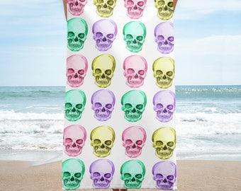 Skulls - Yellow, Pink, Purple, Aqua - Towel