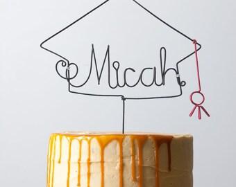 Personalized Graduation Cake Topper With Date Custom Name Wire Party Decor Senior College Grad Gift Cap Ornament Degree Diploma Congrats