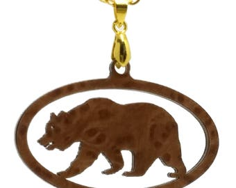 Large California Redwood Burl Wood Pendant  in the Shape of a California Bear on Gold Chain