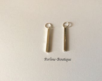2 charms 22mm 925 sterling silver rectangles