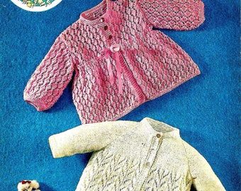 PETER PAN P276 Baby Matinee Coats Vintage Knitting Pattern PDF Instant Download