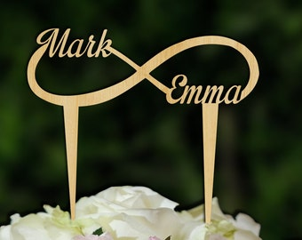 Wood cake topper ,  infinity cake topper , Rustic Cake Topper ,Rustic wedding Topper , initials cake topper , W 101