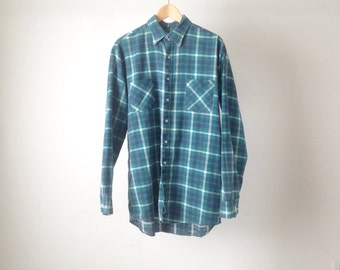 vintage FLANNEL nirvana kurt COBAIN 90s soft plaid flannel shirt size MEDIUM