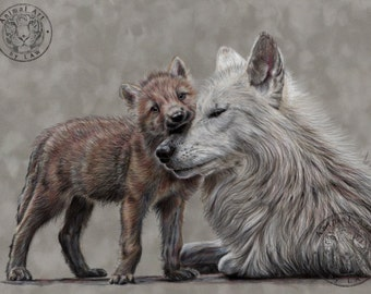 Wolf art - Hand signed small fine art print - 'Love Me Tender'