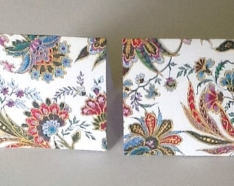 9 Red, Green, and Blue Floral Mini note cards
