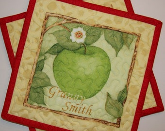 Apple Pot Holders Hot Pads Red and Green Set of 2