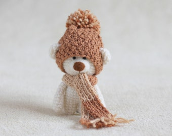 Crochet amigurumi teddy bear in the scarf and hat - small teddy bear, personalized bear gift, teddy bear gift for her - MADE TO ORDER