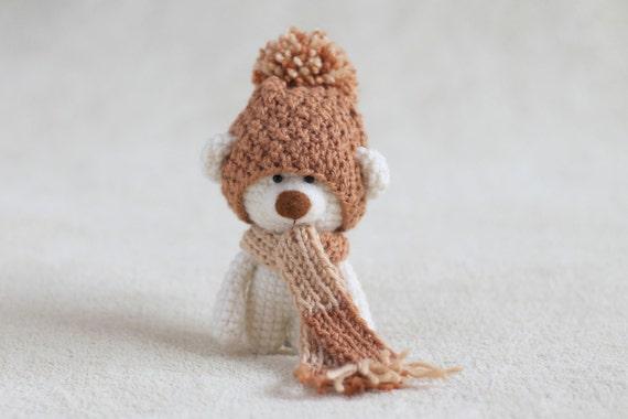 Amigurumi Teddy Bears : Crochet amigurumi teddy bear in the scarf and hat small