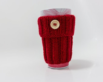 Red  Mug Cozy with Button hand knitted, Travel Mug Cozy, mug sweater, Coffee Cup Sleeve, gift for her, gift for him, hand knitted cosy