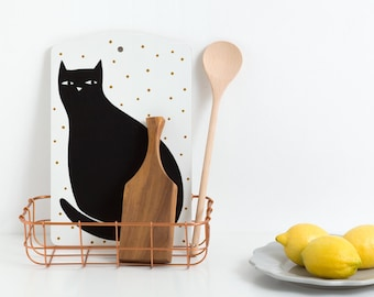 CAT - Cutting board by Depeapa, Cat Cutting board, black cat, illustration, cat lover, illustrated cutting board