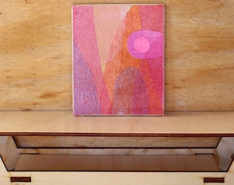 Original Miniature Artwork for the Modern Home - Pink Sunset Hills