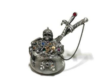 Fantasy Treasure & Pirates Spoontiques Pewter Jeweled Treasure Cauldron