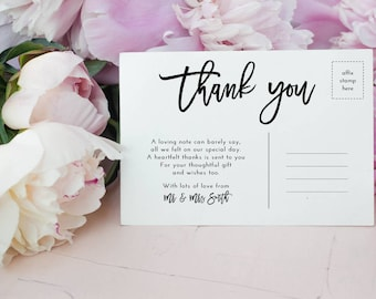 10 x Personalised Wedding/Big Day 'Thank you' postcards
