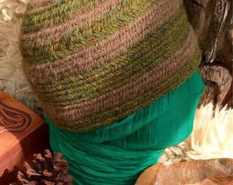 Nalbinded hat 100% Wool moorit wool made with a single bone needle known as  Naalbinding neulakinnas, kinnasneula, söma vantar, Viking hat,