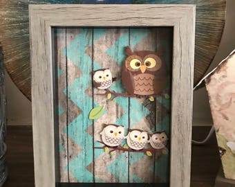 Captured Owls in Rustic Framed, Great wall decor, Gift for her, House Warming Gift