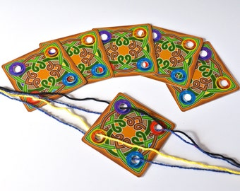 Celtic Knot Weaving Cards Set of 24 Cards Original Design for Card Tablet Weaving 4 Holes Square Double Sided Colorful Cardstock UV Coated