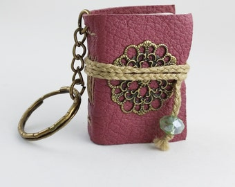 Tiny Pink Steampunk Book- travel journal, mini notebook, handmade book, pendant necklace, keychain