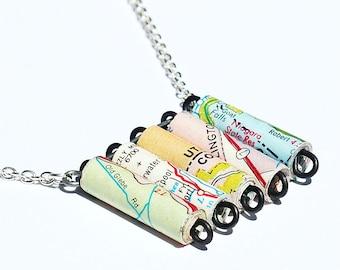U.S. Map Necklace- U.S. Road Atlas Map Paper Bead Necklace, Map Jewelry, Paper Bead Jewelry, Paper Jewelry, Pastel Travel Jewelry, Gift Idea