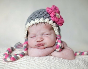 Hot Pink Gray White Earflap Flower Beanie Hat