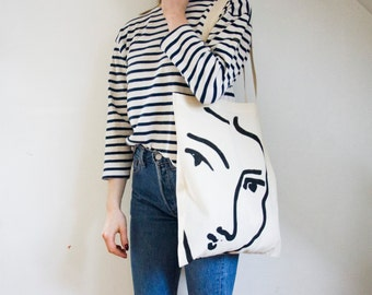 The Nadia tote bag - Matisse hand painted organic cotton tote bag / Made in France